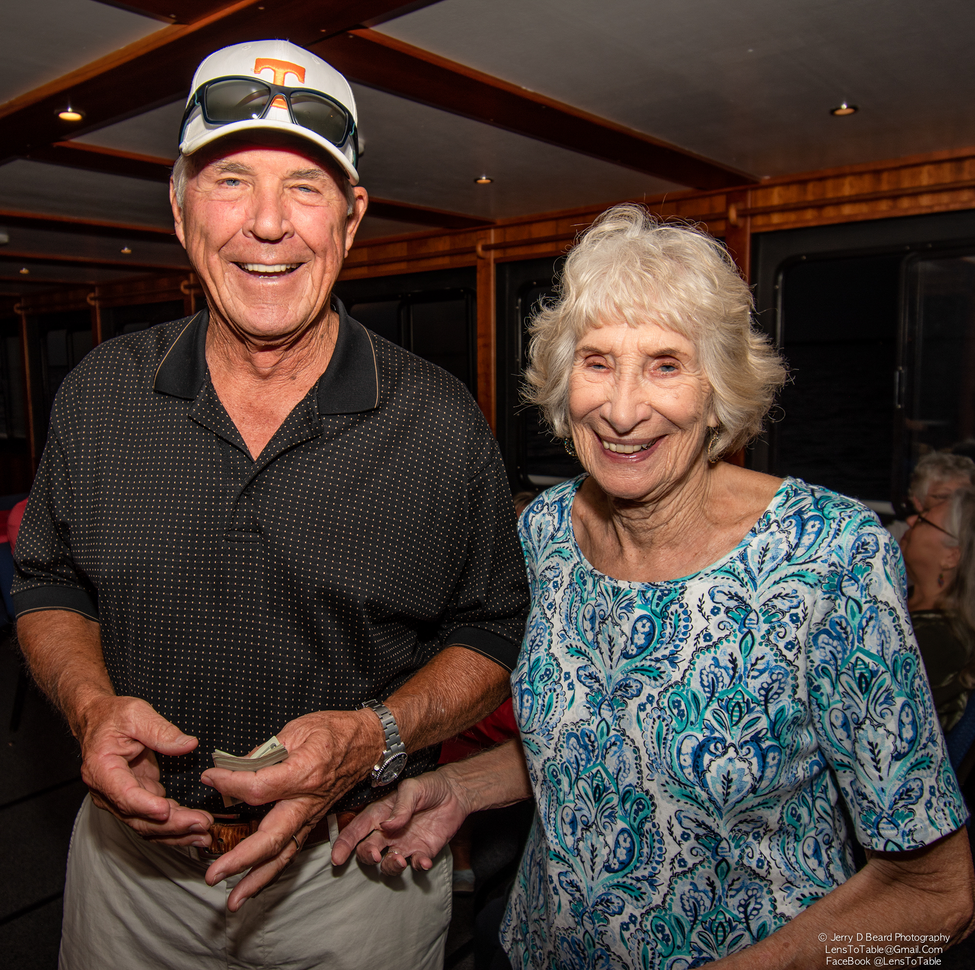 """""""50/50"""" winner Larry Richards poses for a photo, onboard the """"Charlotte Lady"""", at the GAL Sunset Cruise, at Fishermans Village, in Punta Gorda, on Wednesday, April 24, 2019."""